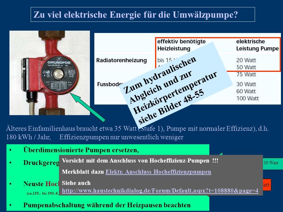 Zu viel elektrische Energie für die Umwälzpumpe