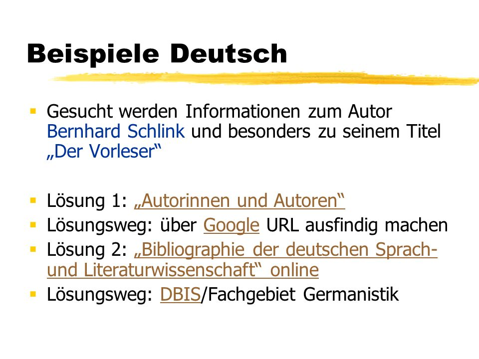 """Beispiele Deutsch Gesucht werden Informationen zum Autor Bernhard Schlink und besonders zu seinem Titel """"Der Vorleser"""