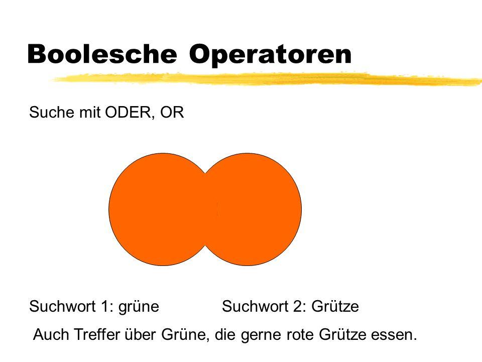 Boolesche Operatoren Suche mit ODER, OR Suchwort 1: grüne