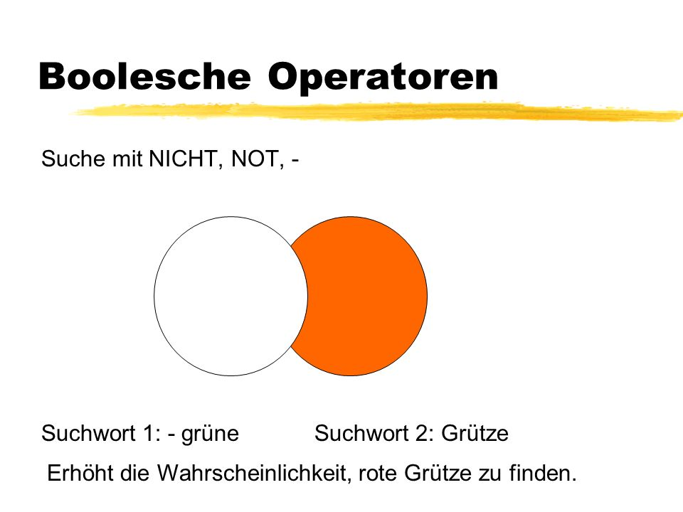 Boolesche Operatoren Suche mit NICHT, NOT, - Suchwort 1: - grüne