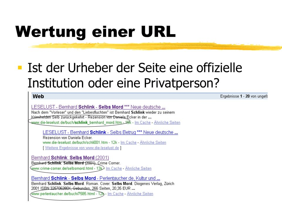 Wertung einer URL Ist der Urheber der Seite eine offizielle Institution oder eine Privatperson