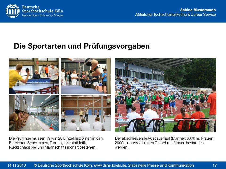 Die Sportarten und Prüfungsvorgaben