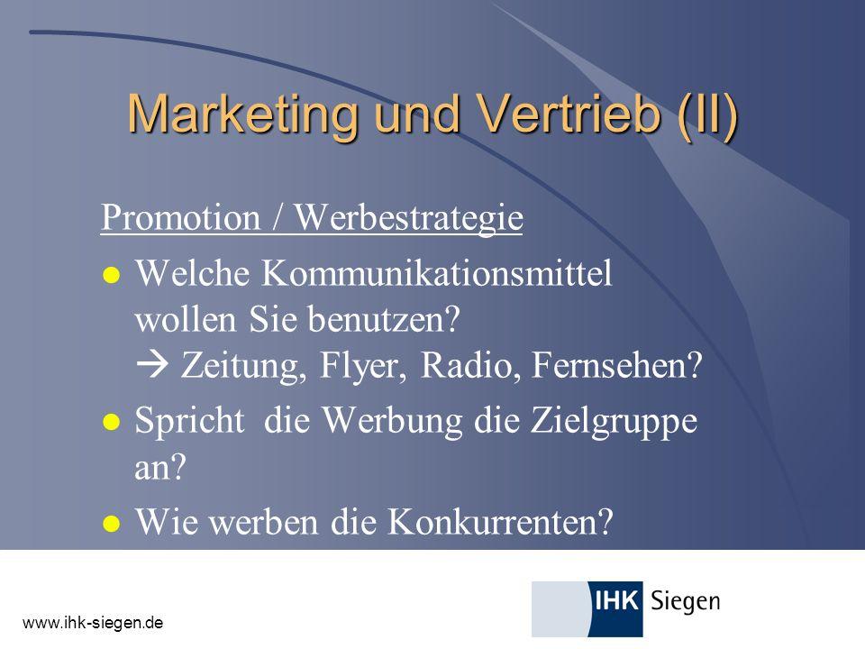 Marketing und Vertrieb (II)
