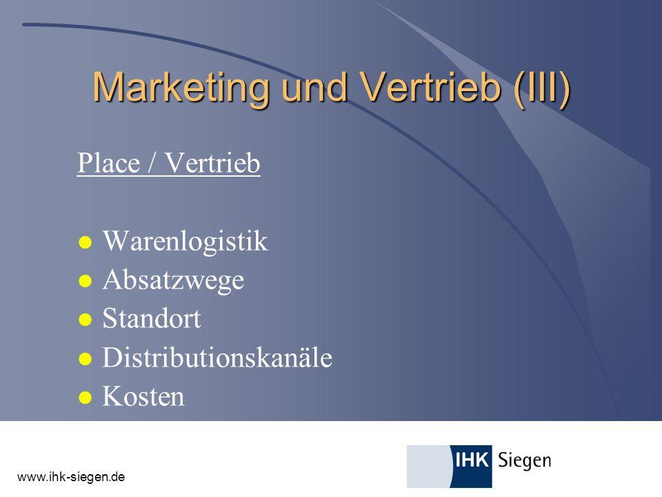 Marketing und Vertrieb (III)