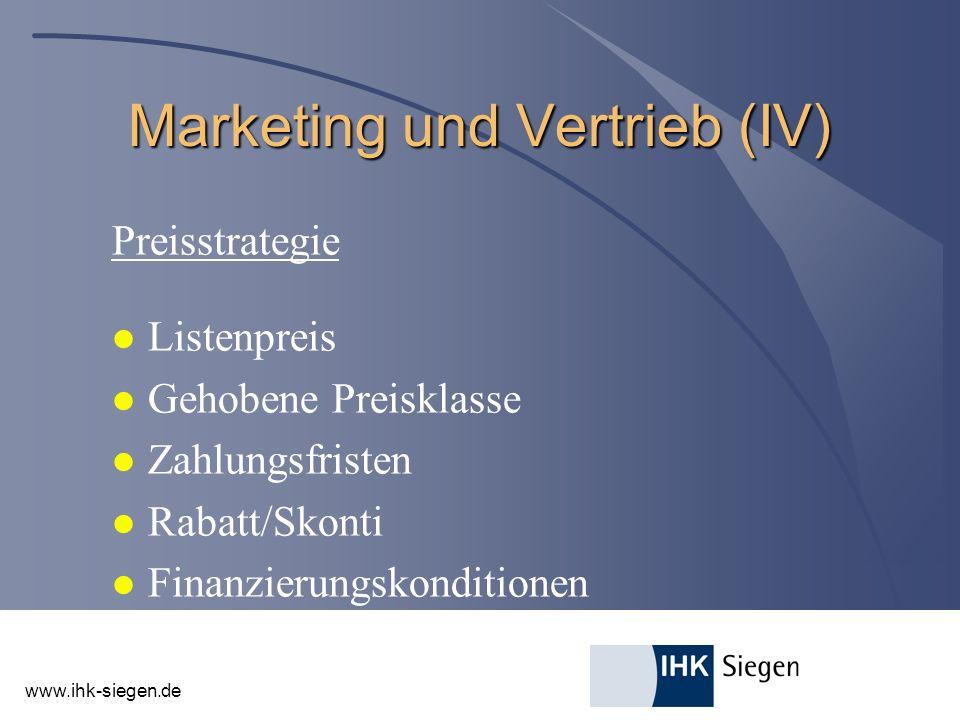 Marketing und Vertrieb (IV)