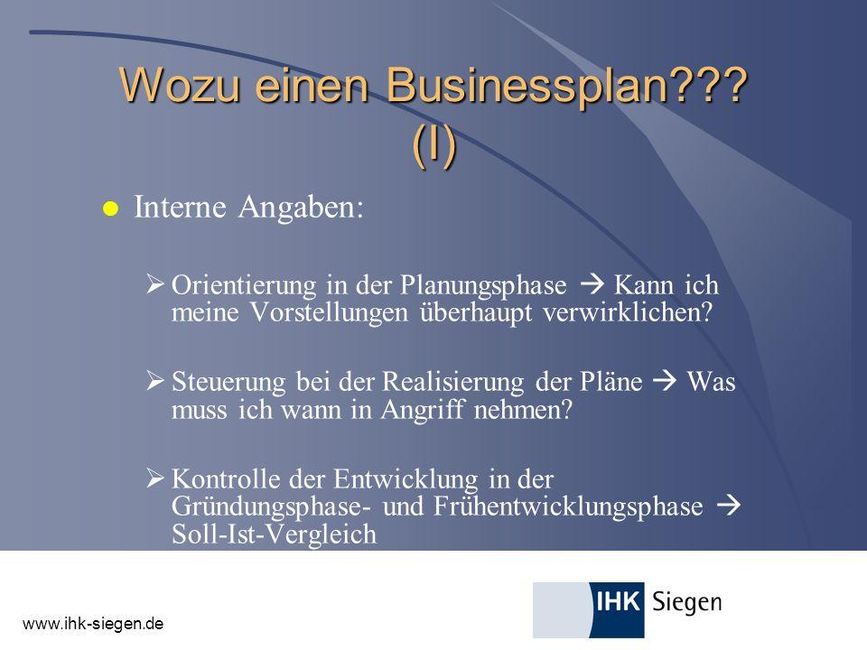 Wozu einen Businessplan (I)