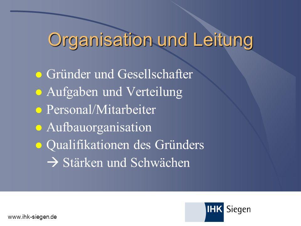 Organisation und Leitung