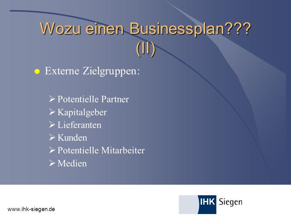 Wozu einen Businessplan (II)