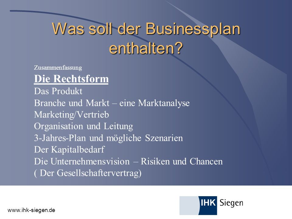 Was soll der Businessplan enthalten