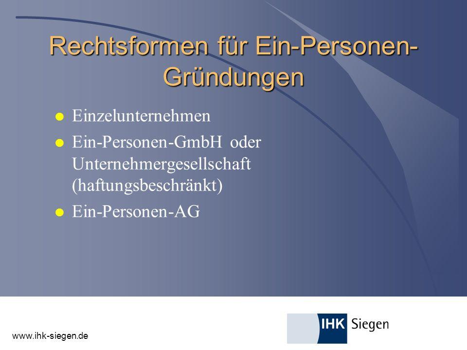 Rechtsformen für Ein-Personen-Gründungen