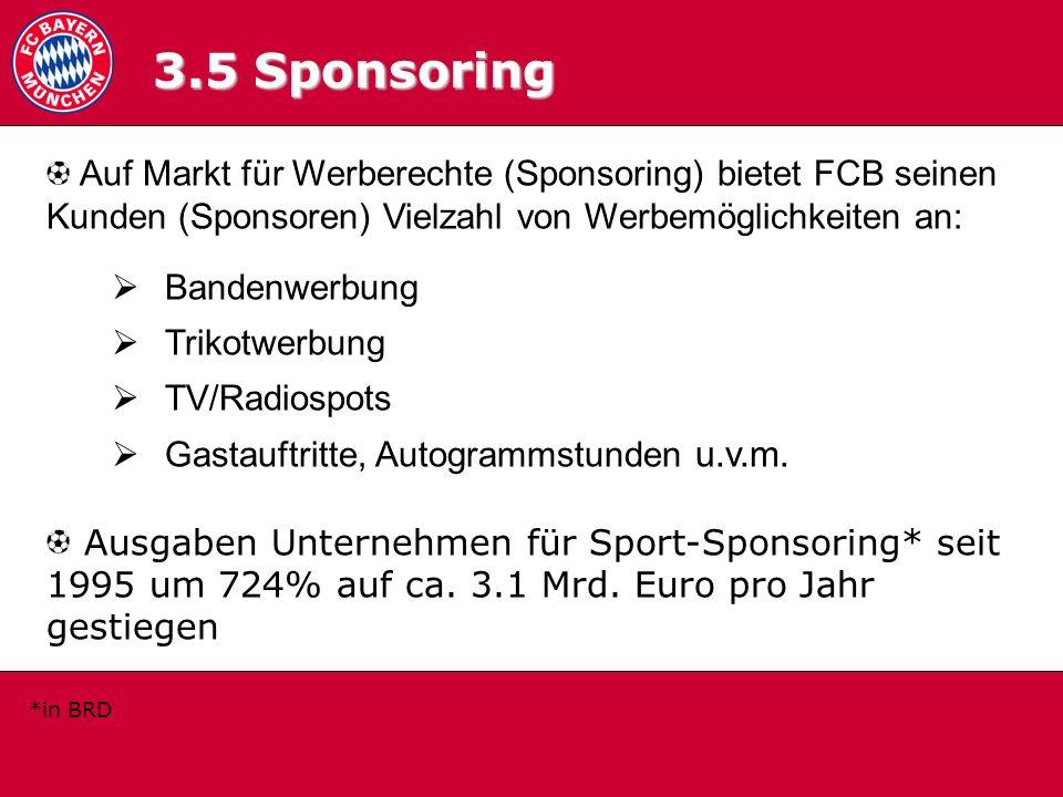 3.5 Sponsoring 3.5 Sponsoring. Auf Markt für Werberechte (Sponsoring) bietet FCB seinen Kunden (Sponsoren) Vielzahl von Werbemöglichkeiten an: