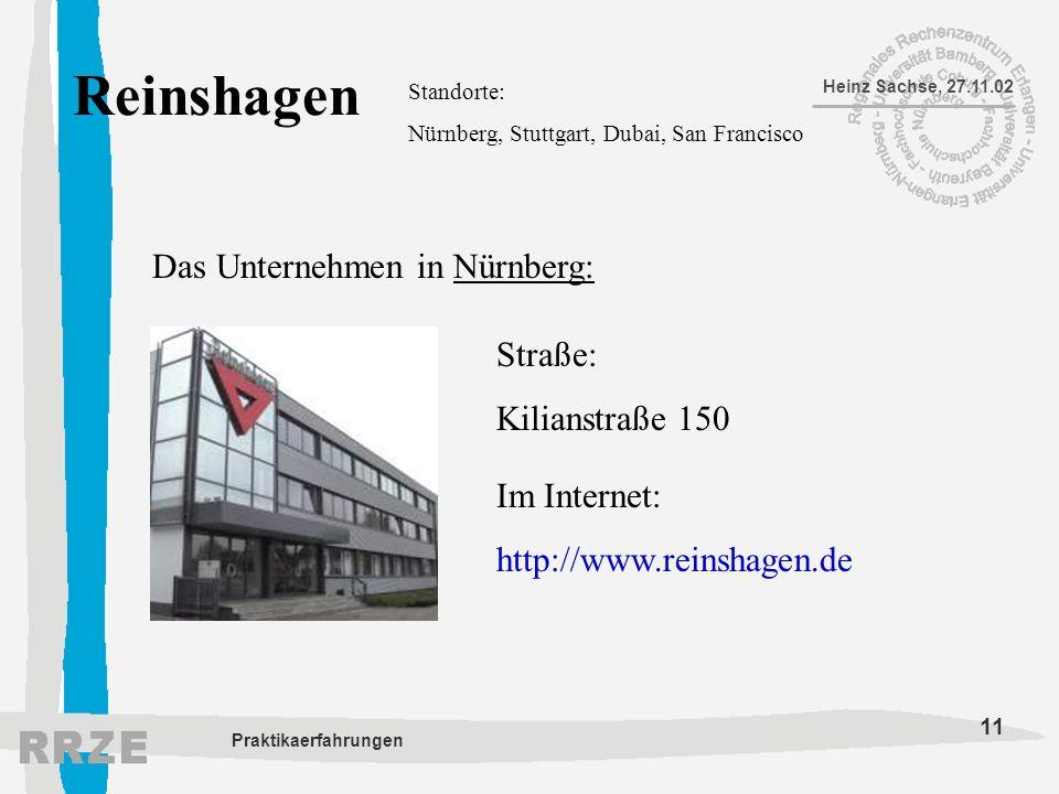Reinshagen Das Unternehmen in Nürnberg: Straße: Kilianstraße 150