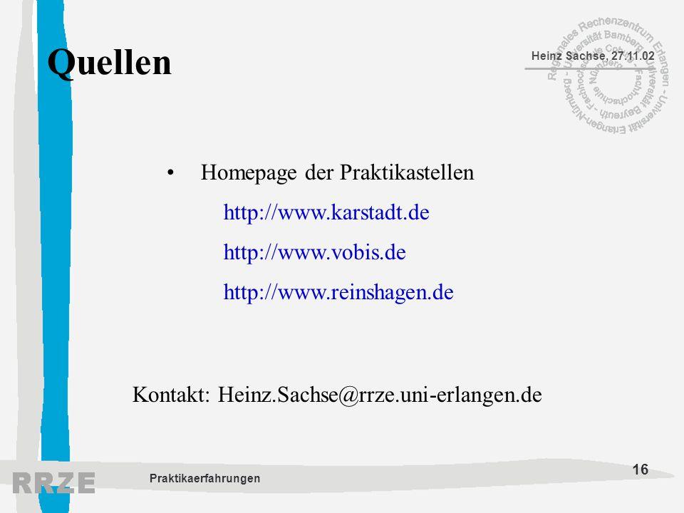 Quellen Homepage der Praktikastellen http://www.karstadt.de
