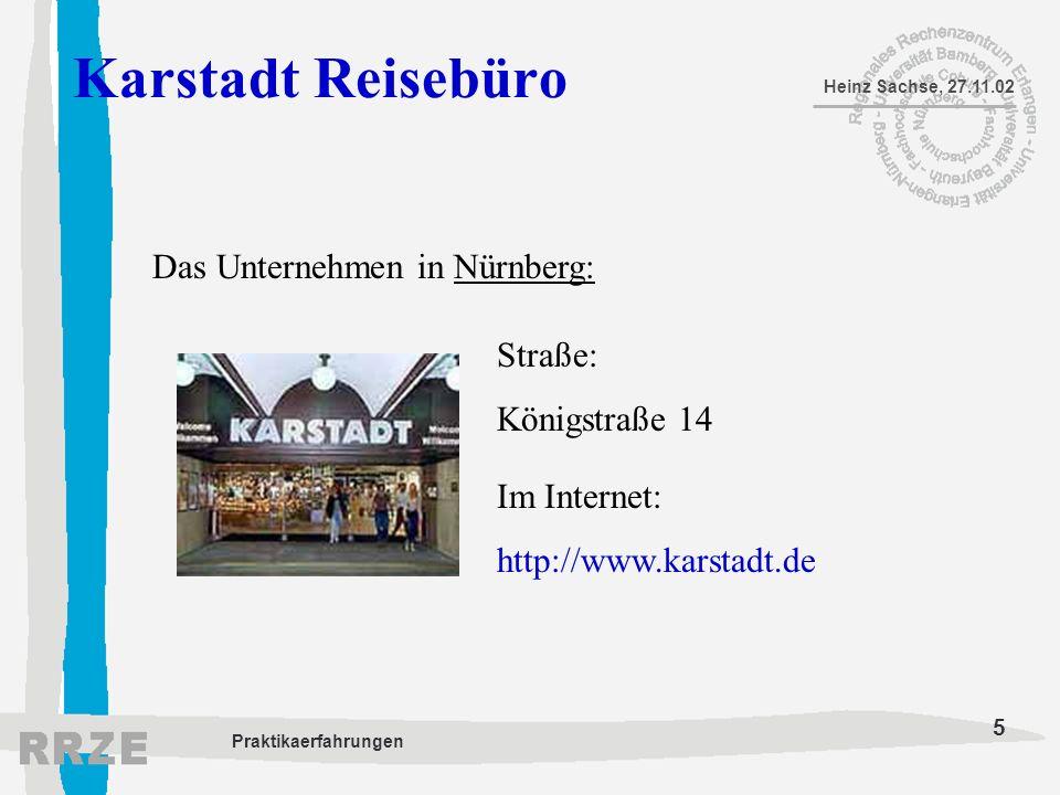Karstadt Reisebüro Das Unternehmen in Nürnberg: Straße: Königstraße 14