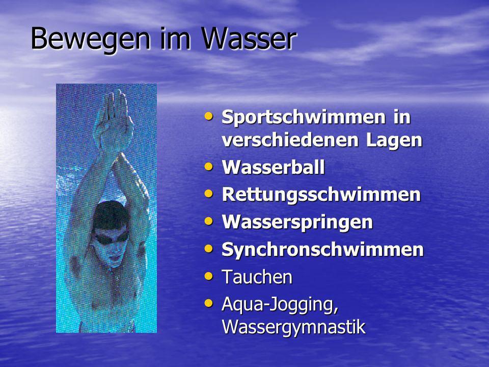 Bewegen im Wasser Sportschwimmen in verschiedenen Lagen Wasserball