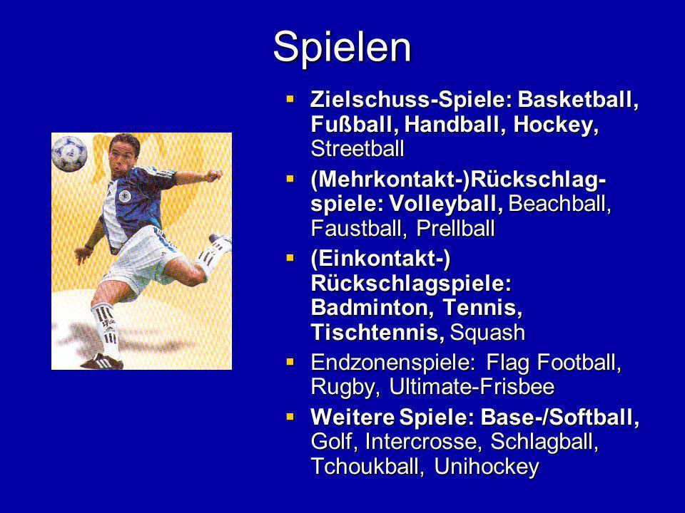 Spielen Zielschuss-Spiele: Basketball, Fußball, Handball, Hockey, Streetball.