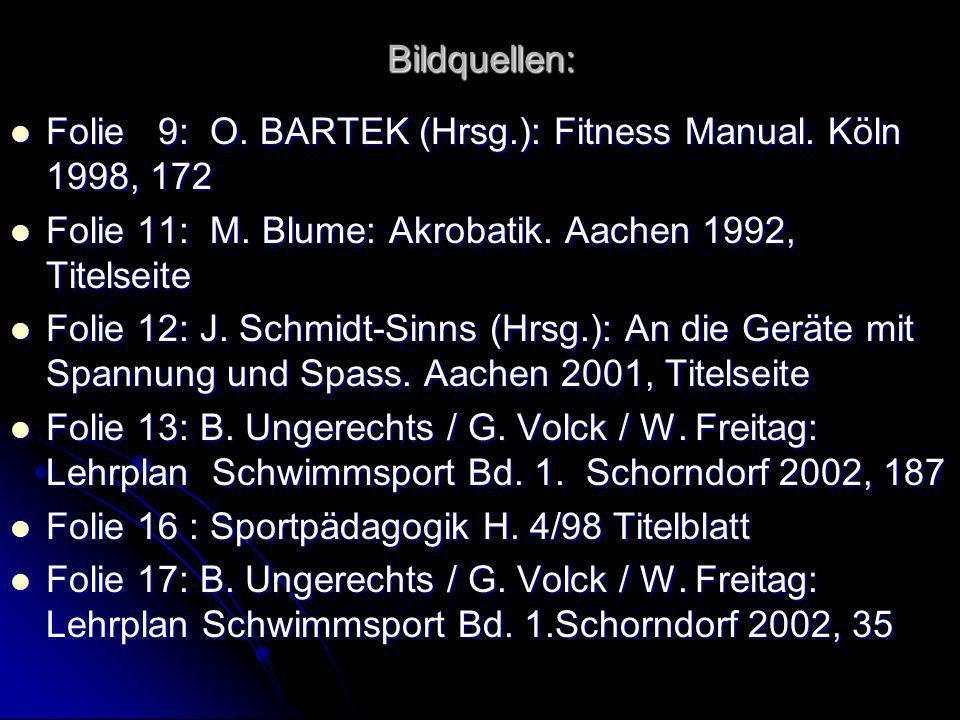 Bildquellen: Folie 9: O. BARTEK (Hrsg.): Fitness Manual. Köln 1998, 172. Folie 11: M. Blume: Akrobatik. Aachen 1992, Titelseite.