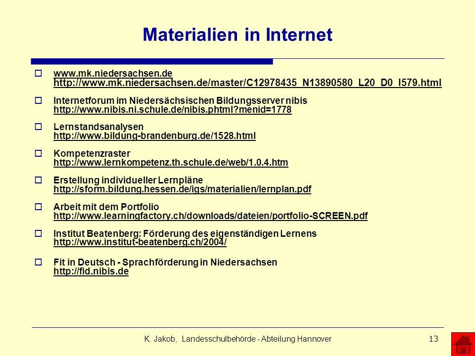 Materialien in Internet
