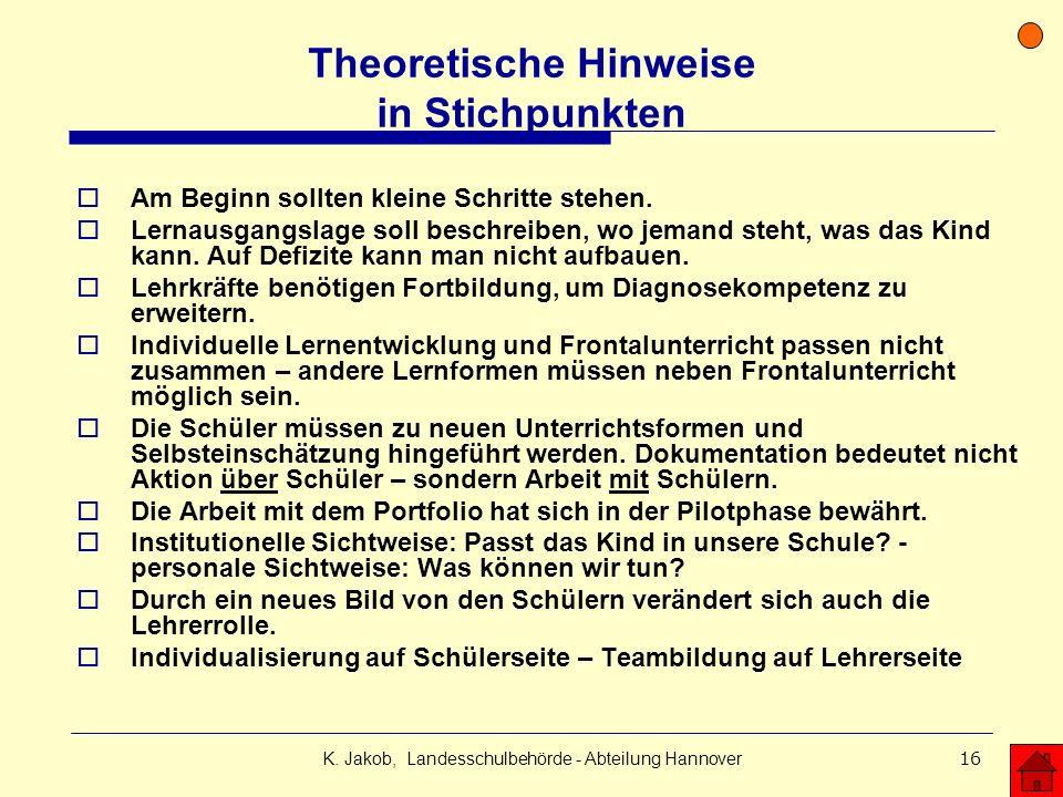 Theoretische Hinweise in Stichpunkten