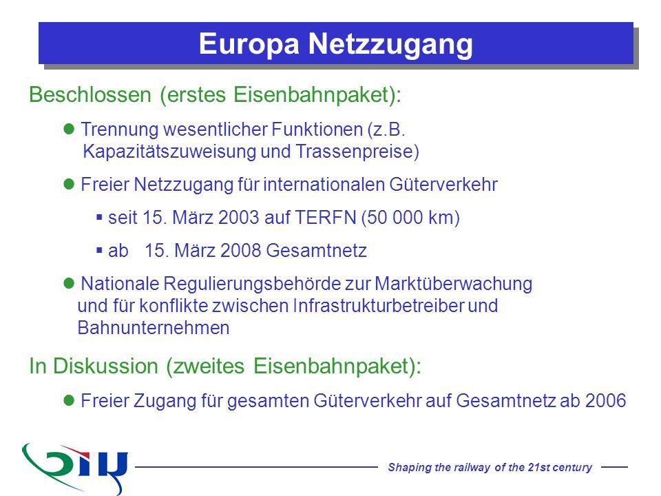 Europa Netzzugang Beschlossen (erstes Eisenbahnpaket):