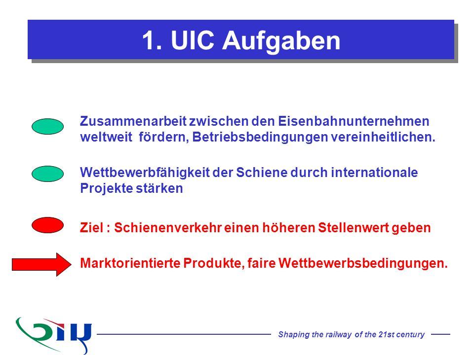 1. UIC Aufgaben Zusammenarbeit zwischen den Eisenbahnunternehmen weltweit fördern, Betriebsbedingungen vereinheitlichen.