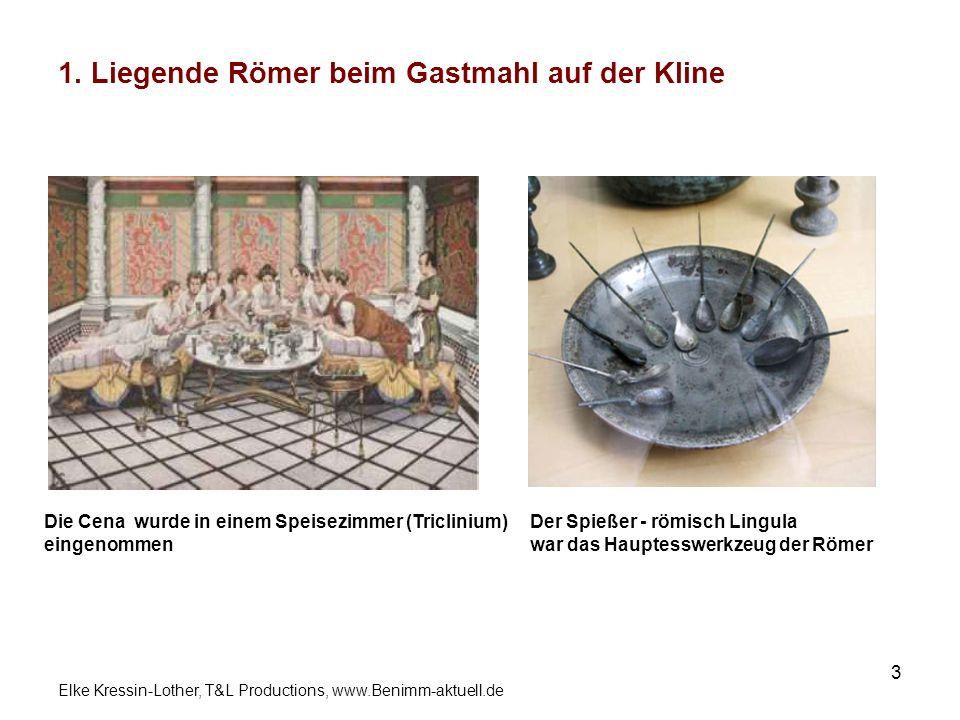 1. Liegende Römer beim Gastmahl auf der Kline