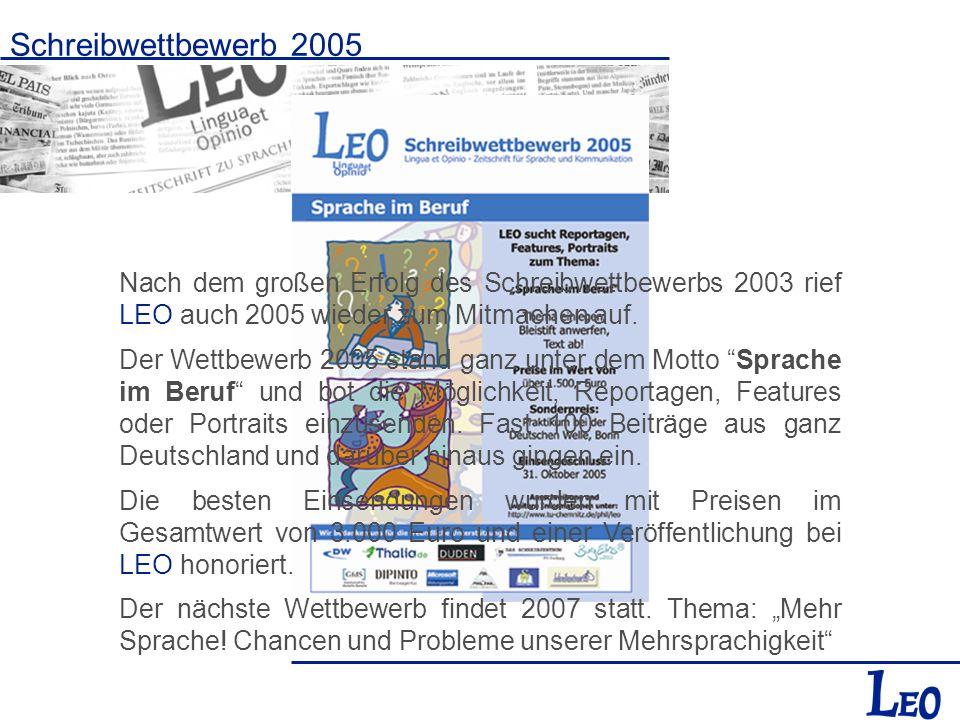Schreibwettbewerb 2005 Nach dem großen Erfolg des Schreibwettbewerbs 2003 rief LEO auch 2005 wieder zum Mitmachen auf.