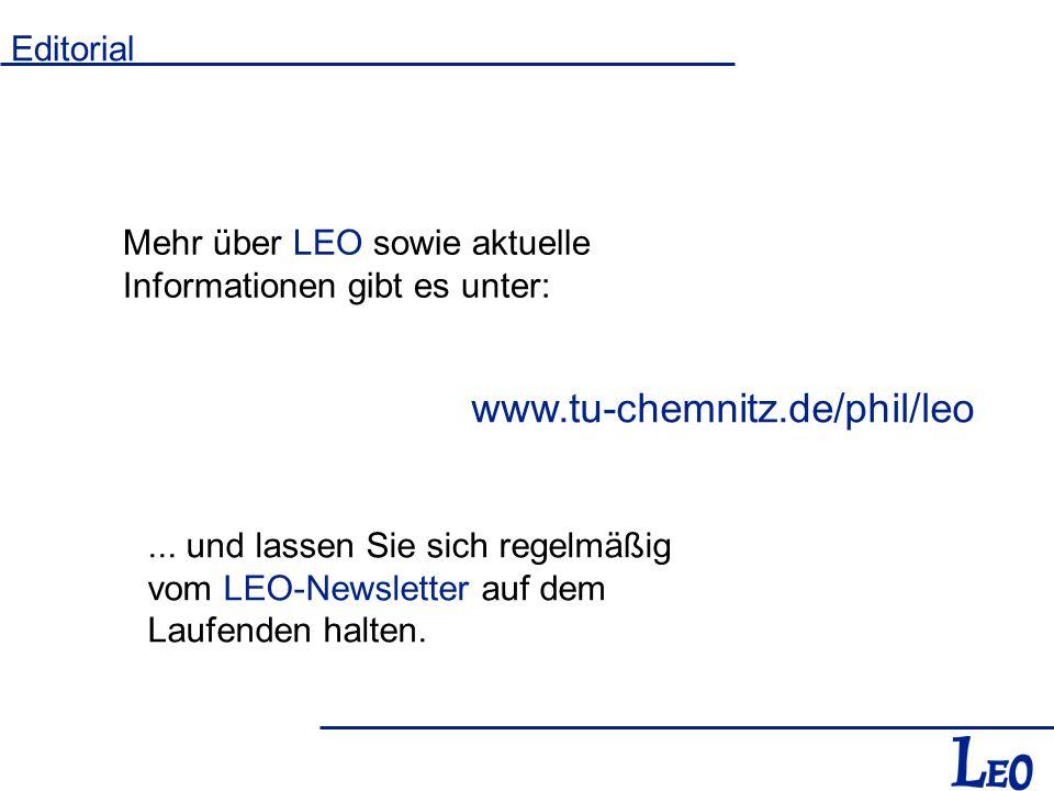 Mehr über LEO sowie aktuelle Informationen gibt es unter: