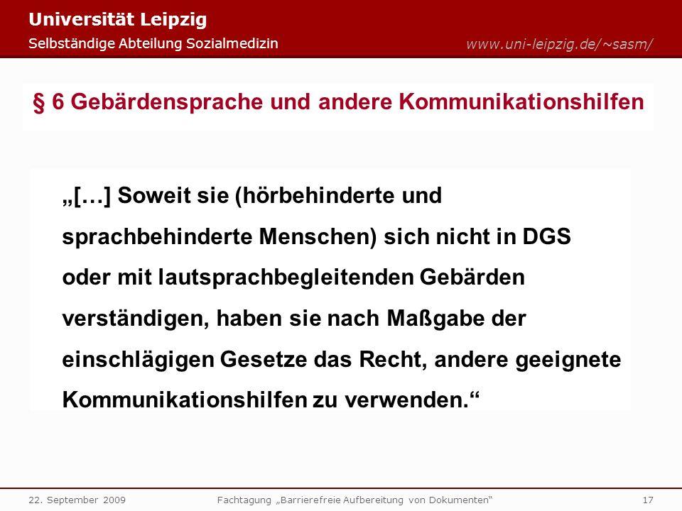 § 6 Gebärdensprache und andere Kommunikationshilfen