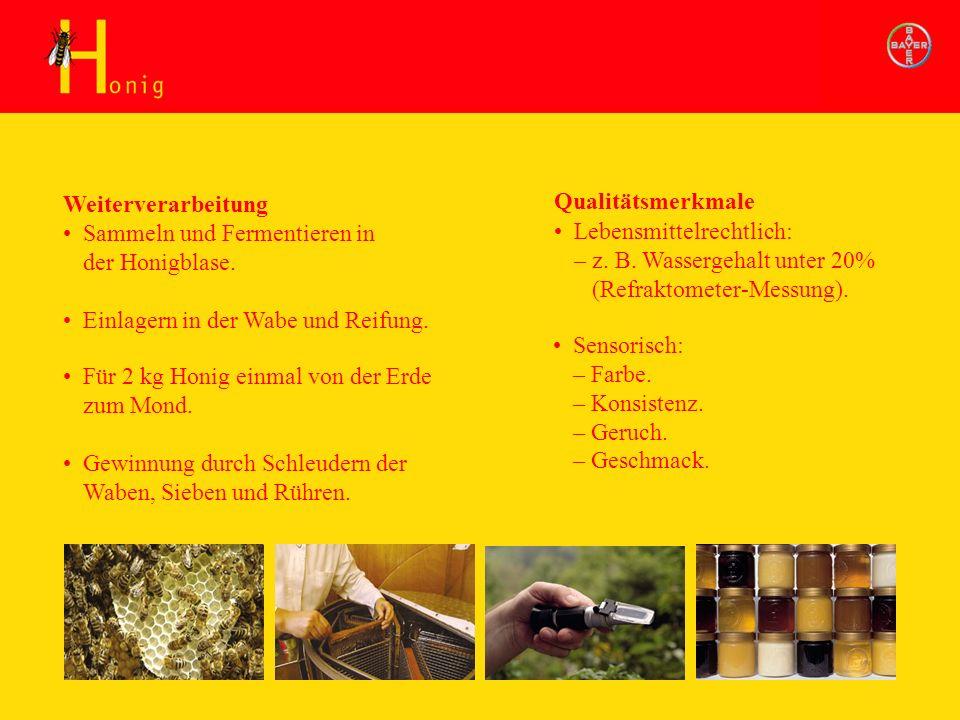 Honig Weiterverarbeitung