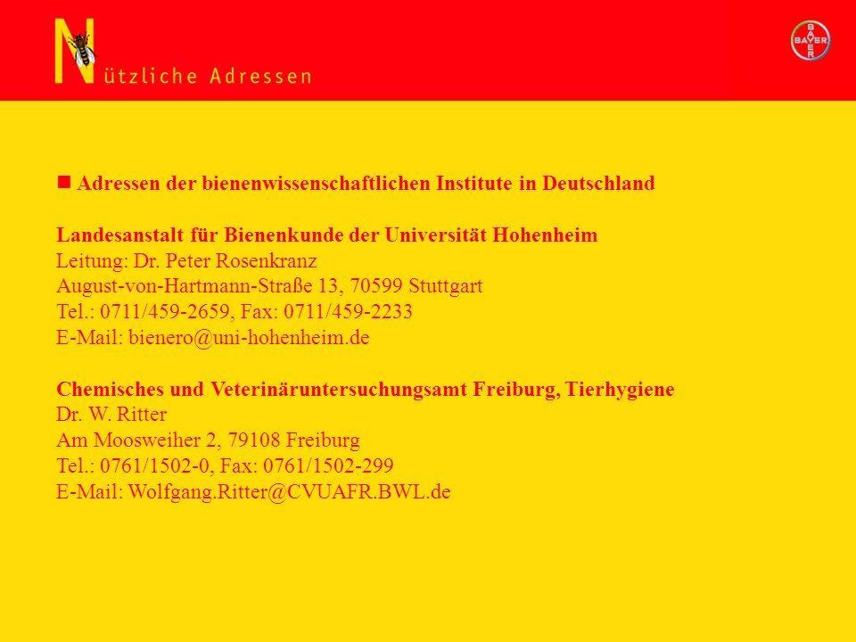 Adressen der bienenwissenschaftlichen Institute in Deutschland