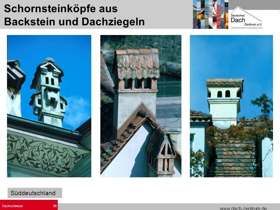 Schornsteinköpfe aus Backstein und Dachziegeln