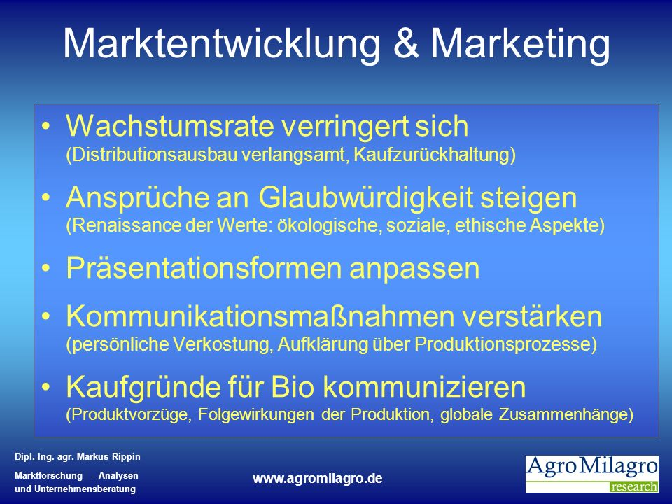Marktentwicklung & Marketing