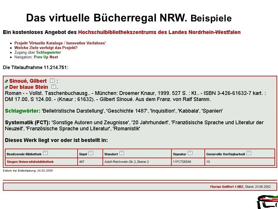 Das virtuelle Bücherregal NRW. Beispiele