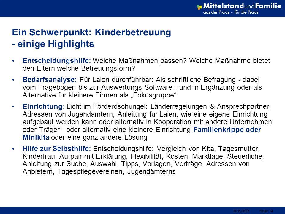 Ein Schwerpunkt: Kinderbetreuung - einige Highlights