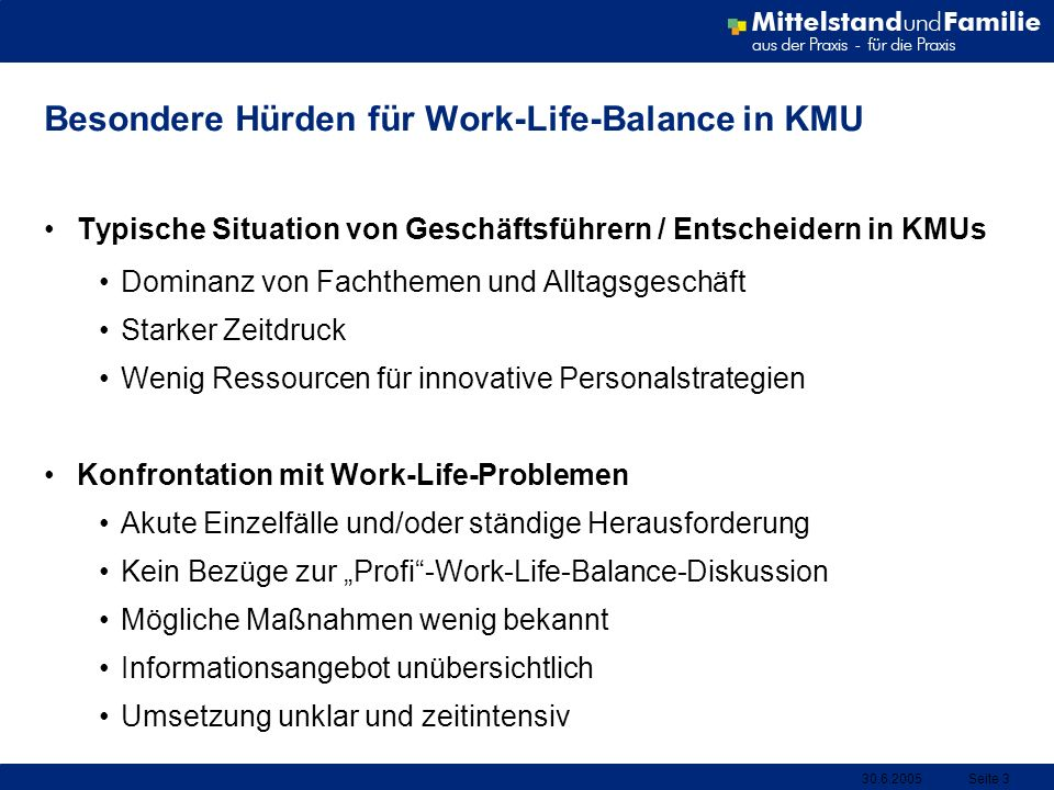 Besondere Hürden für Work-Life-Balance in KMU