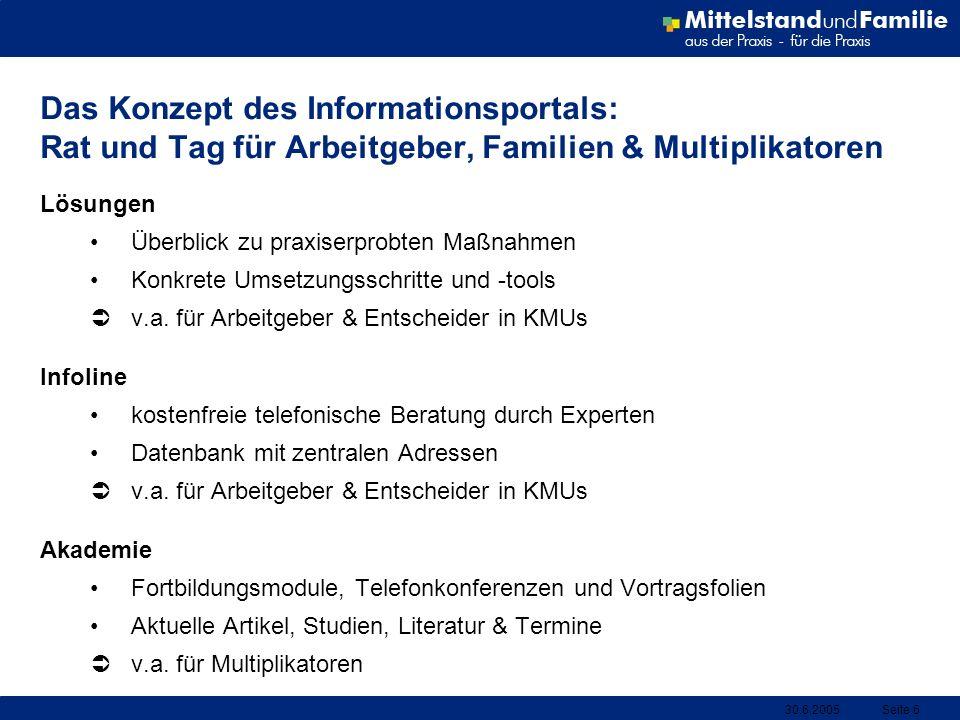 Das Konzept des Informationsportals: Rat und Tag für Arbeitgeber, Familien & Multiplikatoren