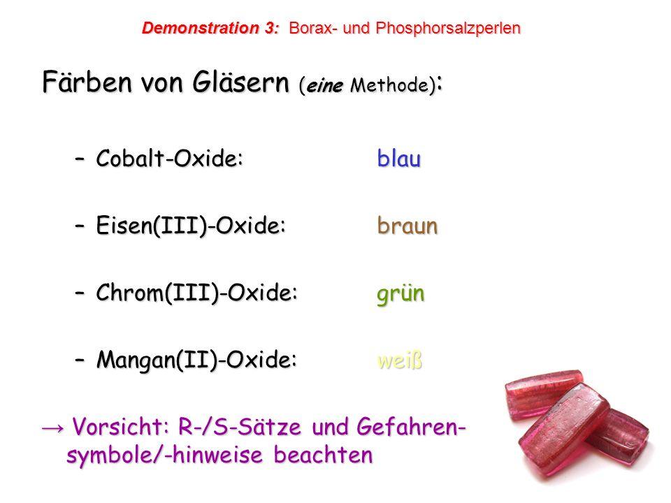 Färben von Gläsern (eine Methode):