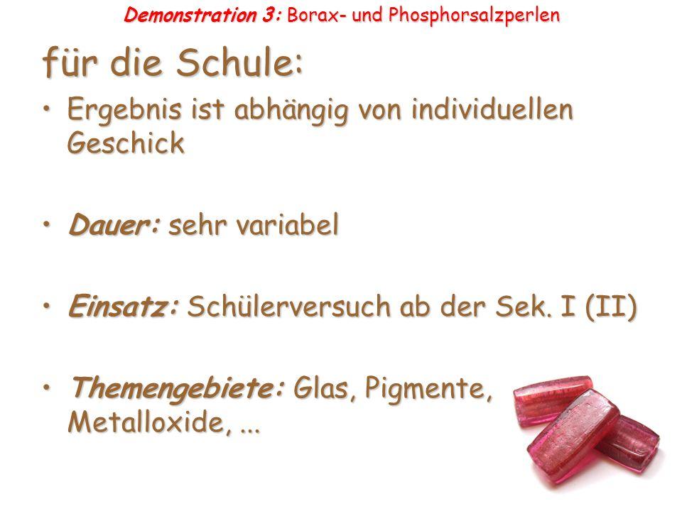 Demonstration 3: Borax- und Phosphorsalzperlen