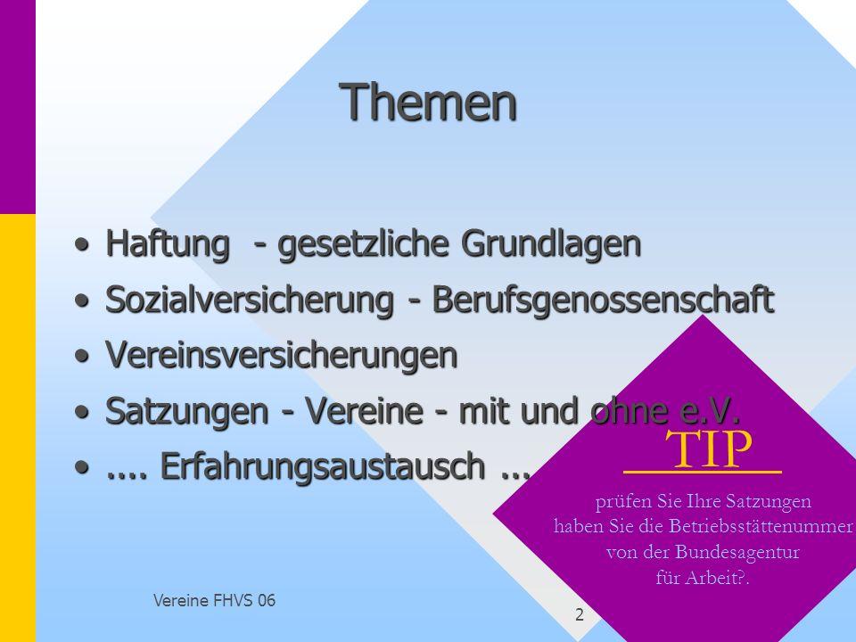 Vortrag Versicherungsschutz Vereine - FHSV 2005