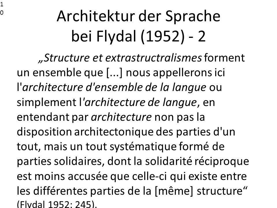 Architektur der Sprache bei Flydal (1952) - 2
