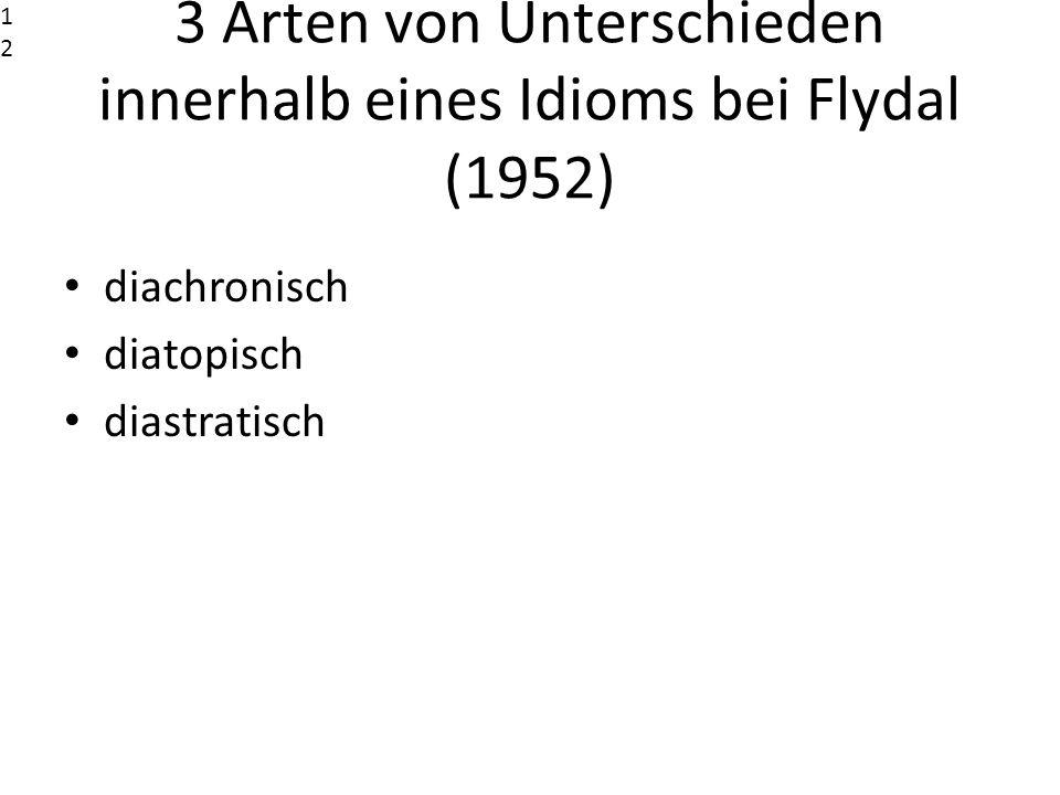 3 Arten von Unterschieden innerhalb eines Idioms bei Flydal (1952)