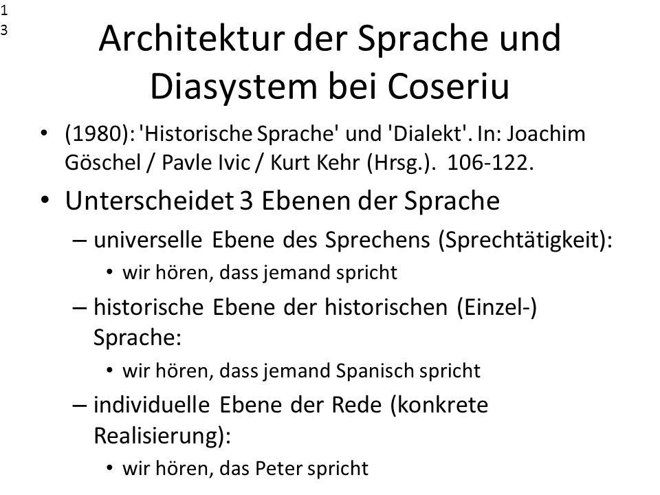 Architektur der Sprache und Diasystem bei Coseriu