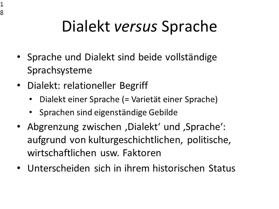 Dialekt versus Sprache