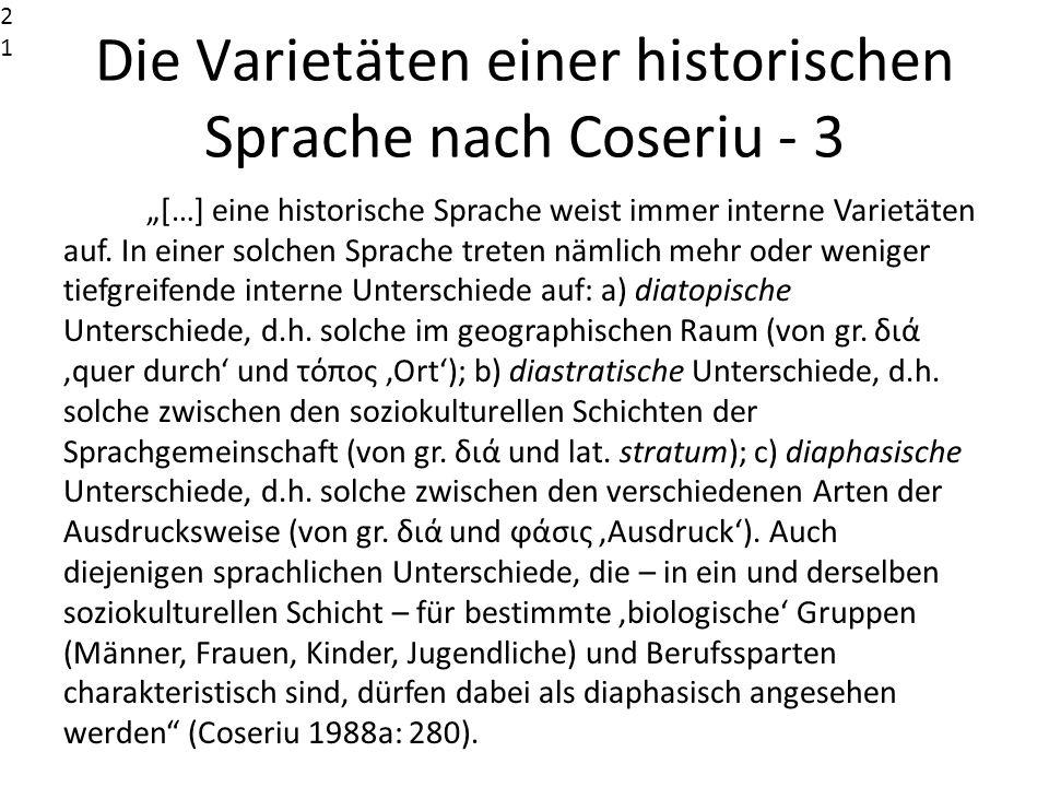 Die Varietäten einer historischen Sprache nach Coseriu - 3