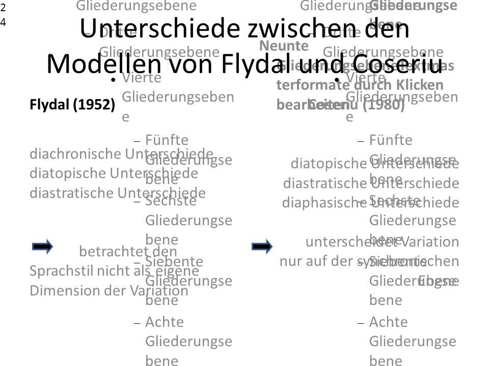Unterschiede zwischen den Modellen von Flydal und Coseriu