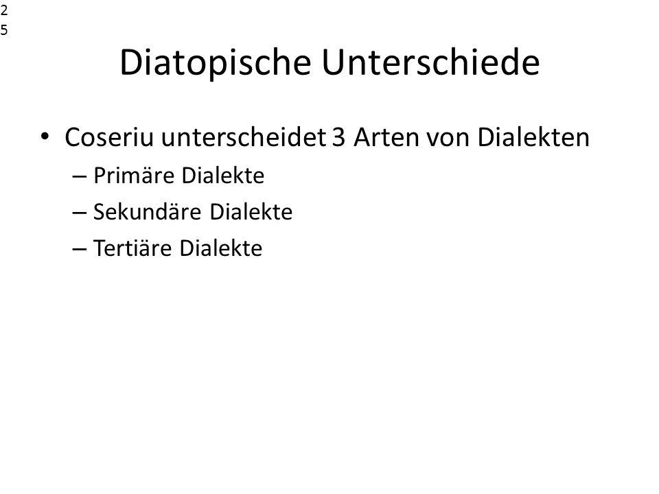 Diatopische Unterschiede