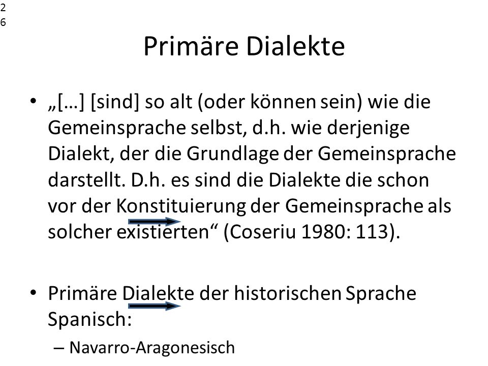 2626 2626. Primäre Dialekte.