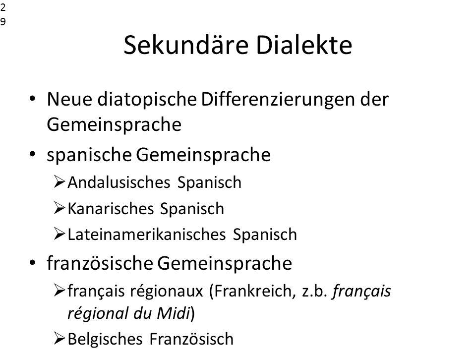 2929 2929. Sekundäre Dialekte. Neue diatopische Differenzierungen der Gemeinsprache. spanische Gemeinsprache.