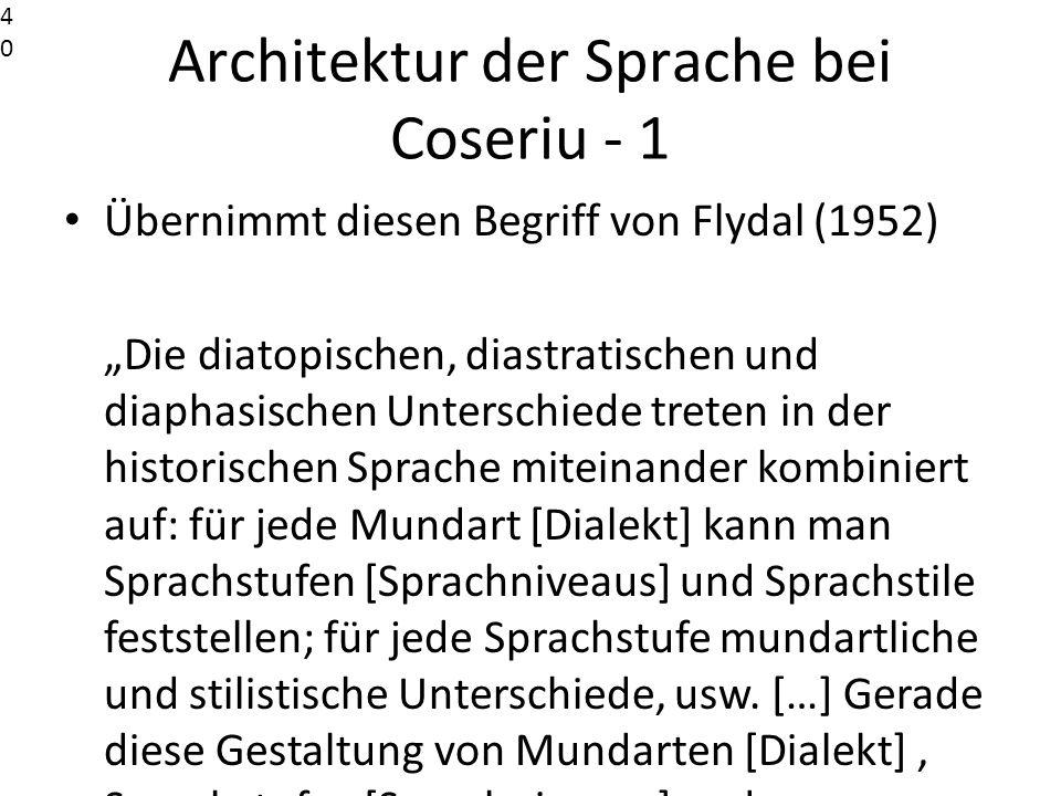 Architektur der Sprache bei Coseriu - 1